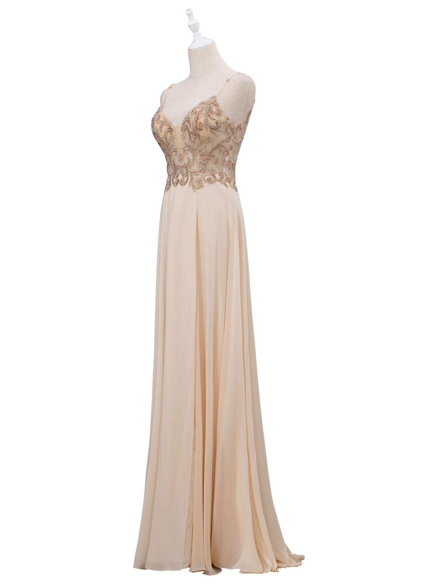 Long Illusion Lace-Bodice Open-Back Chiffon Prom Dress